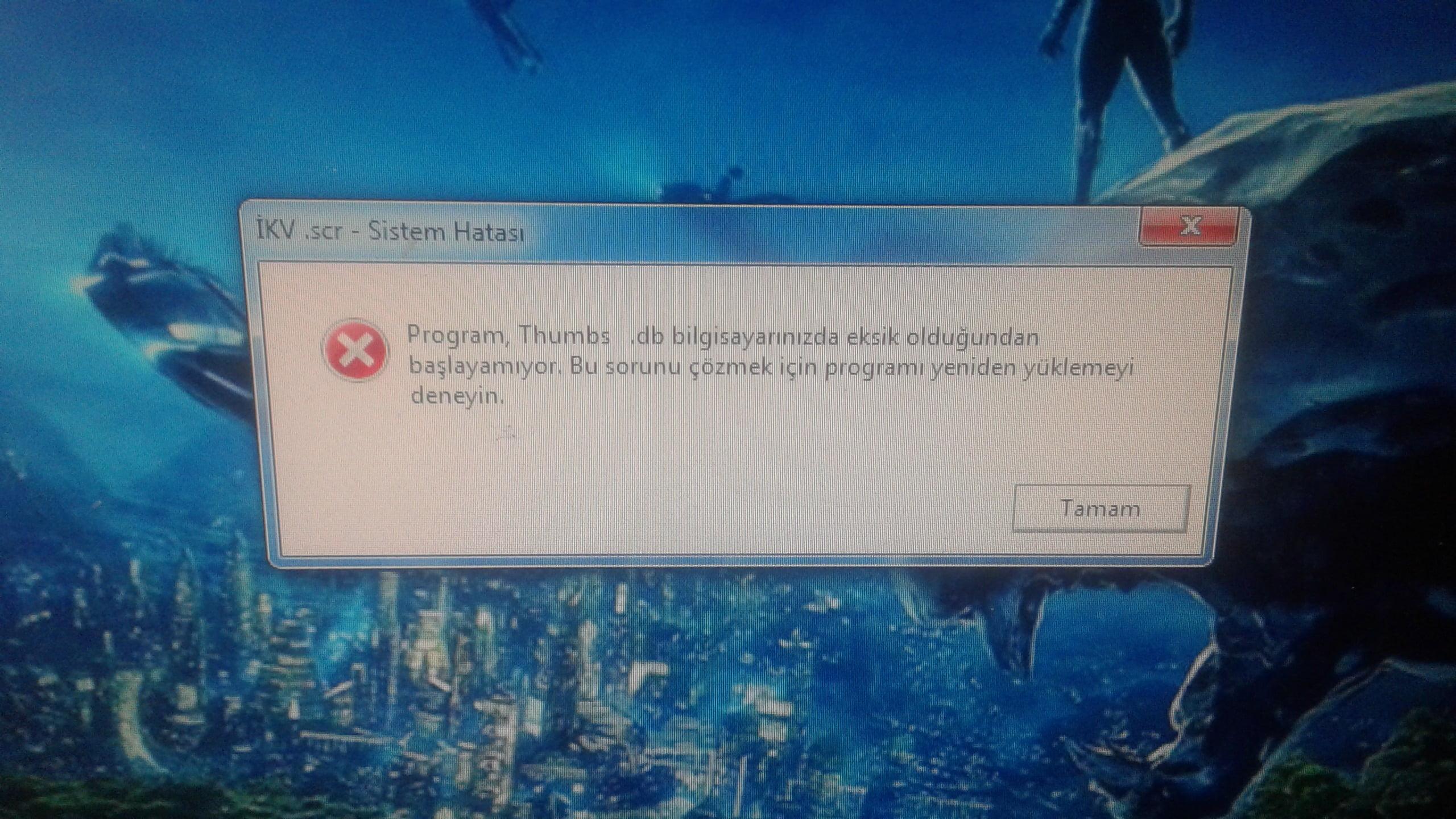 Windows 7 professional Thumbs .db programı silinmiş diyor nasıl düzeltebilirimel
