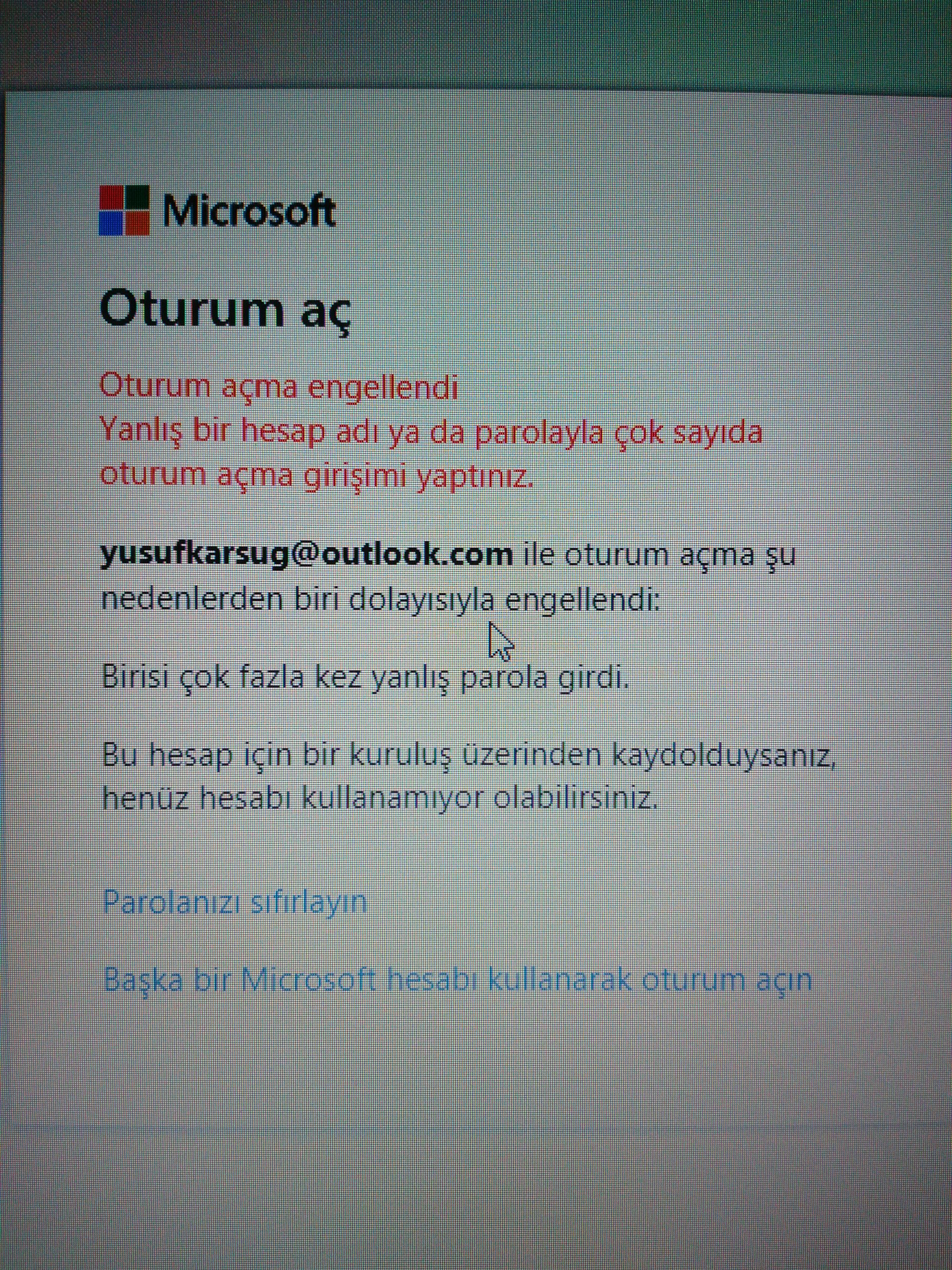 Outlook oturum açma engellendi!