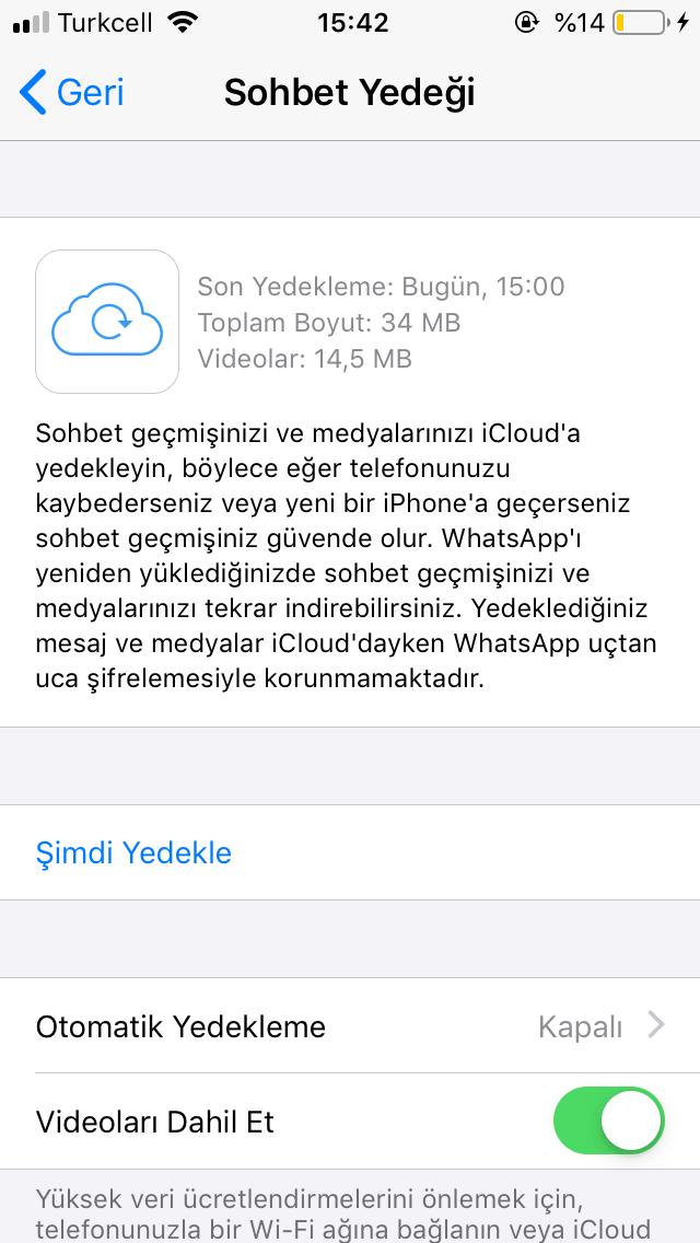 İos whatsapp sohbet yedeği yardım