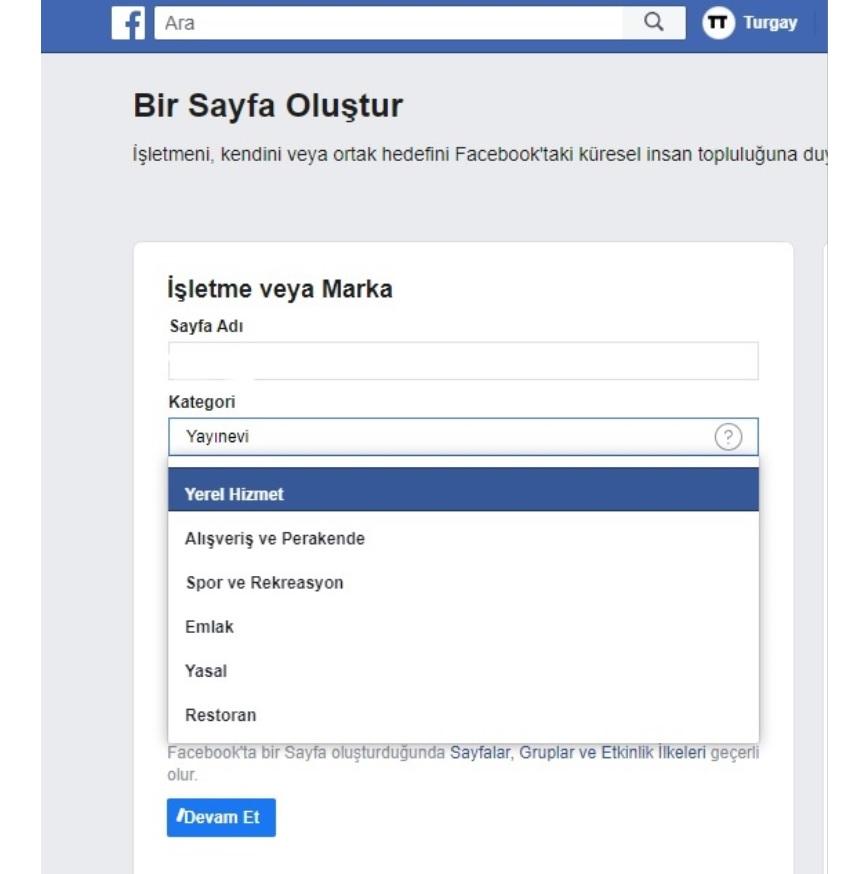 Facebook Kategori Sorunu Yardım