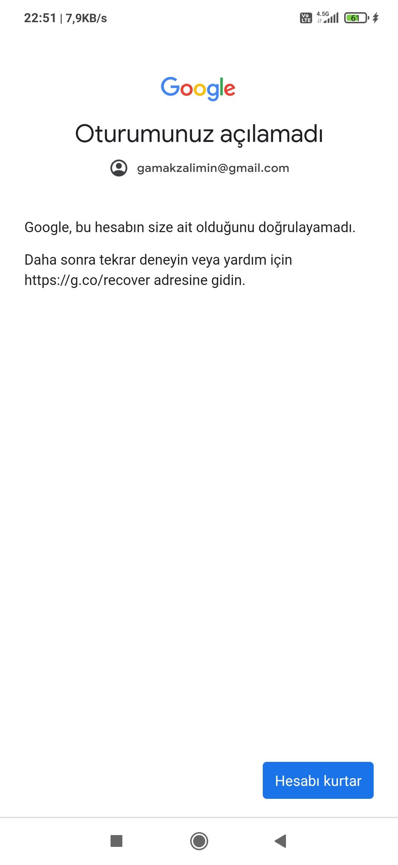 GMAİL HESAP KURTARAMIYORUM