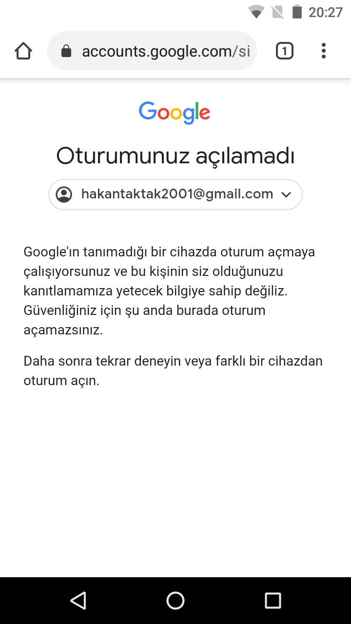 GMAİL HESABIMI GERİ ALAMIYORUM